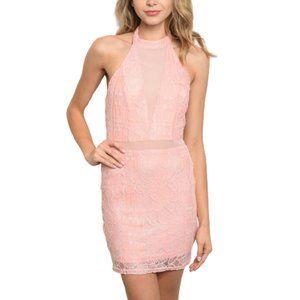 Dresses & Skirts - High Neck Pink Backless Lace Mini Dress